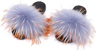 Womens Real Raccoon Fur Slides - Furry Slippers Fluffy Sliders Soft Flat Summer Sandals Flip Flop Shoes