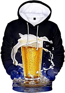 Hoodies with Attractive Beer Digital Printing Fashion Oversize Pullover Sweatshirt Casual Style Comfortable Top for Couple