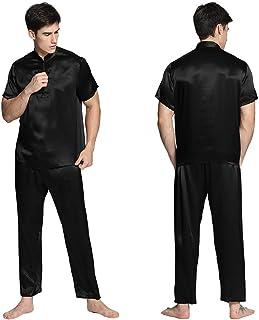 LILYSILK Men's Long Silk Pyjamas Set Short Sleeve 22 Momme Pure Silk