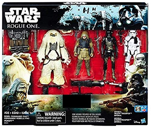 STAR WARS ROGUE UNO Exclusivo Figura de acción 4 Pack Incluye: REBEL COMMANDO ra- ,moroff, Imperial Death Trooper y Imperial soldado imperial