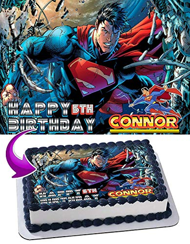 Cakecery Superman Edible Cake Image Topper Personalized Birthday Cake Banner 1/4 Sheet