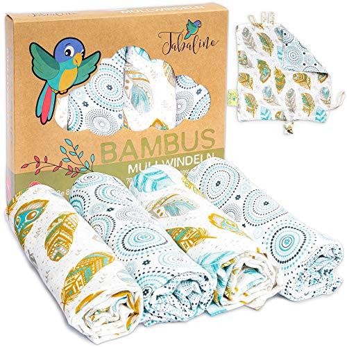Tabalino Superweiche Bambus Mullwindeln Spucktücher | 80x80cm | 4er-Pack + gratis Schmusetuch |doppelt dicht gewebt| Stoffwindeln Baby Junge & Mädchen Mulltücher Moltontuch 30% Baumwolle (Federn)