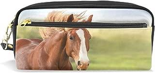 ALAZA Grassland Horse Pencil Case Zipper PU Leather Pen Bag Cosmetic Makeup Bag Pen Stationery Pouch Bag Large Capacity