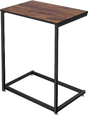 サイドテーブル Vsadey テーブル ベッド サイドテーブル フットパッド付き 高さ調節可能 ソファサイドテーブル コの字型デザイン 木目調 幅約55×奥行約36×高さ約67cm