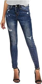 AOGOTO - Jeans skinny da donna, a vita alta, skinny denim stretch slim al polpaccio