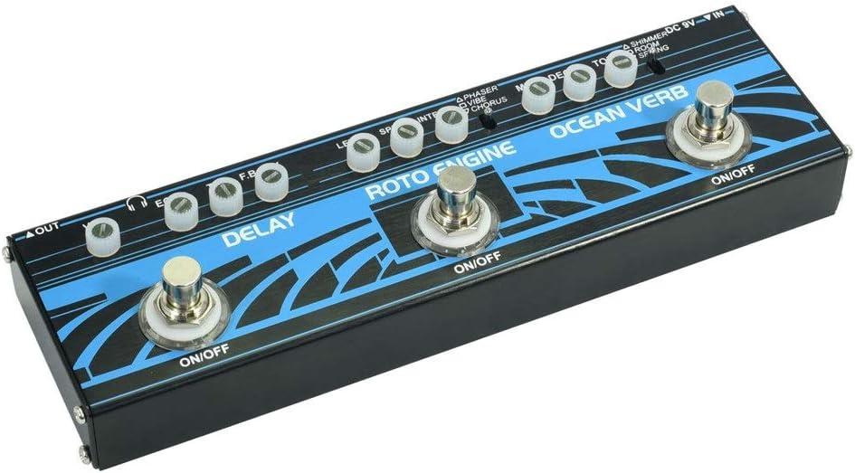 YLiansong Pedal de Efecto de Guitarra eléctrica Pedal de Efectos de Guitarra múltiple 3 Tipos de retardo de Efectos, Ocean Verb, Roto Engine (Color : Azul, tamaño : Free Size)
