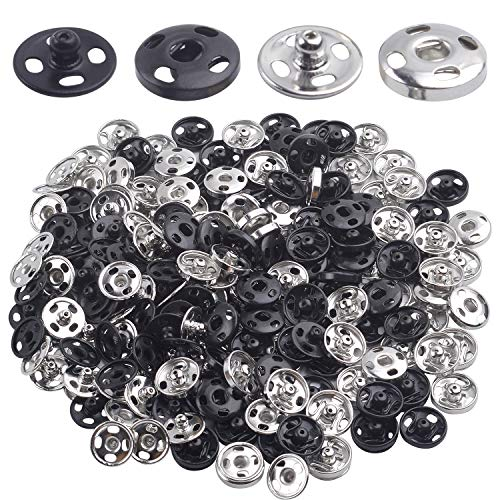 120 Sets Sew-on Snap Buttons, Metal Snap Fasteners Buttons Press Button Stud for Sewing Craft Clothes DIY Decoration - Black and Silver
