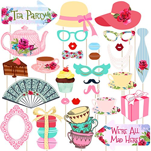 LUOEM Tea Party Photo Booth Props Tea Party Stick Props Funny Tea Party Supplies - Wedding,Bachelorette,Engagement,Birthday,Bridal Shower,Christmas Party Decorations (30 Pack)