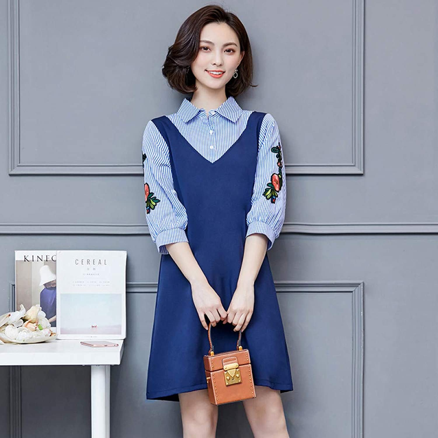 Cxlyq Dresses Large Size Women's Fat Sister Fake TwoPiece Embroidered Dress FivePoint Sleeve