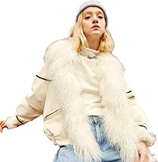 Women's Jacket Winter Outdoor Cold Jacket Denim Fur Collar Coat Windproof Warm Clothes Trend New (Color : White, Size : S)