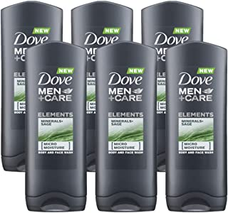 Dove Men Care Body & Face Wash, Minerals and Sage - 13.5 Fl Oz / 400 mL X 6 Pack Case, Made in Germany