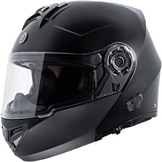 TORC T27B1 FBK XL Flat Black T27 Full Face Modular Helmet with Integrated Blinc Bluetooth, X-Large