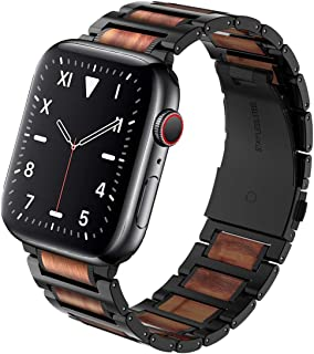 Wolait Compatible with Apple Watch Band 44mm 42mm, Natural Wood Red Sandalwood with Stainless Steel Metal Link Band for iWatch Series 5/4/3/2/1 Men (Red Sandalwood+Black Steel,42mm/44mm)