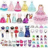 Miunana 41 Accesorios para Muñeca De 11.5 Pulgadas Y 28 - 30 Cm: 5 Vestidos + 4 Trajes De Animadora + 5 Trajes De Baño + 5 Vestidos De Novia + 6 Coronas + 6 Collares + 10 PCS Zapatos