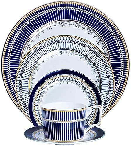 Juego de platos, Conjuntos de vajillas de 34 PC, conjuntos de cena de cerámica británica, conjunto completo de combinación de porcelana moderna  Incluye platos, tazones y tazas de café  Lavavajillas y