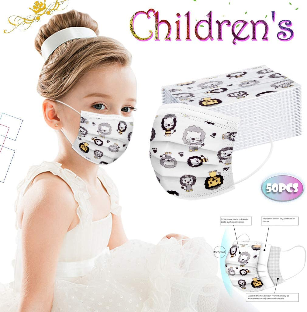 for Kids St.Dona 50Pcs Kids Disposable Face Bandanas with Cute Cloth 3 Ply Non-Woven Covering Breathable and Anti-Haze Dust A