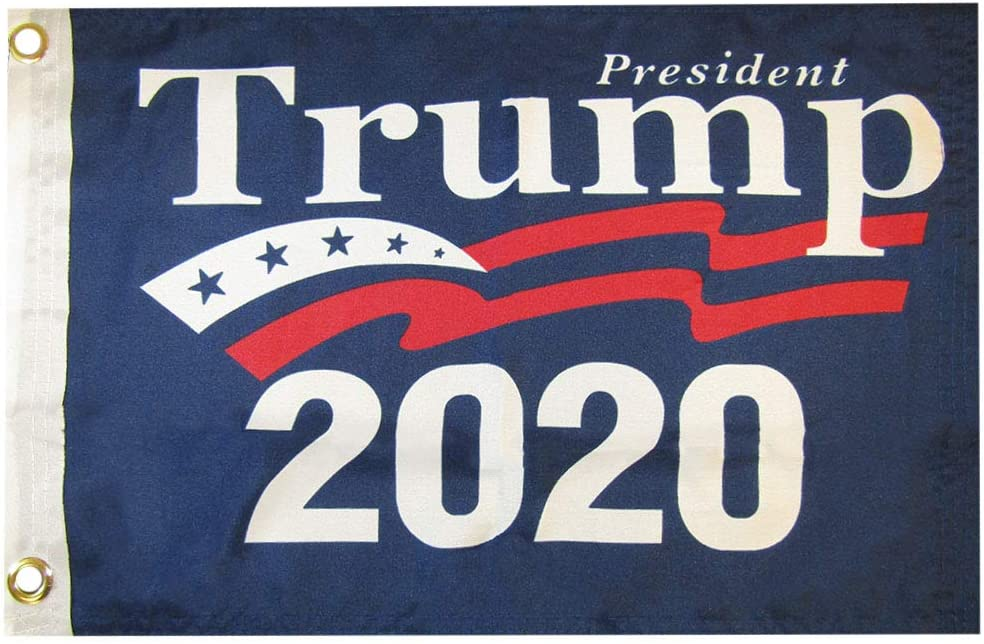 Trade Fresno Mall Winds 12x18 Free shipping President Trump 2020 Woven 100D Poly Blue Nylo