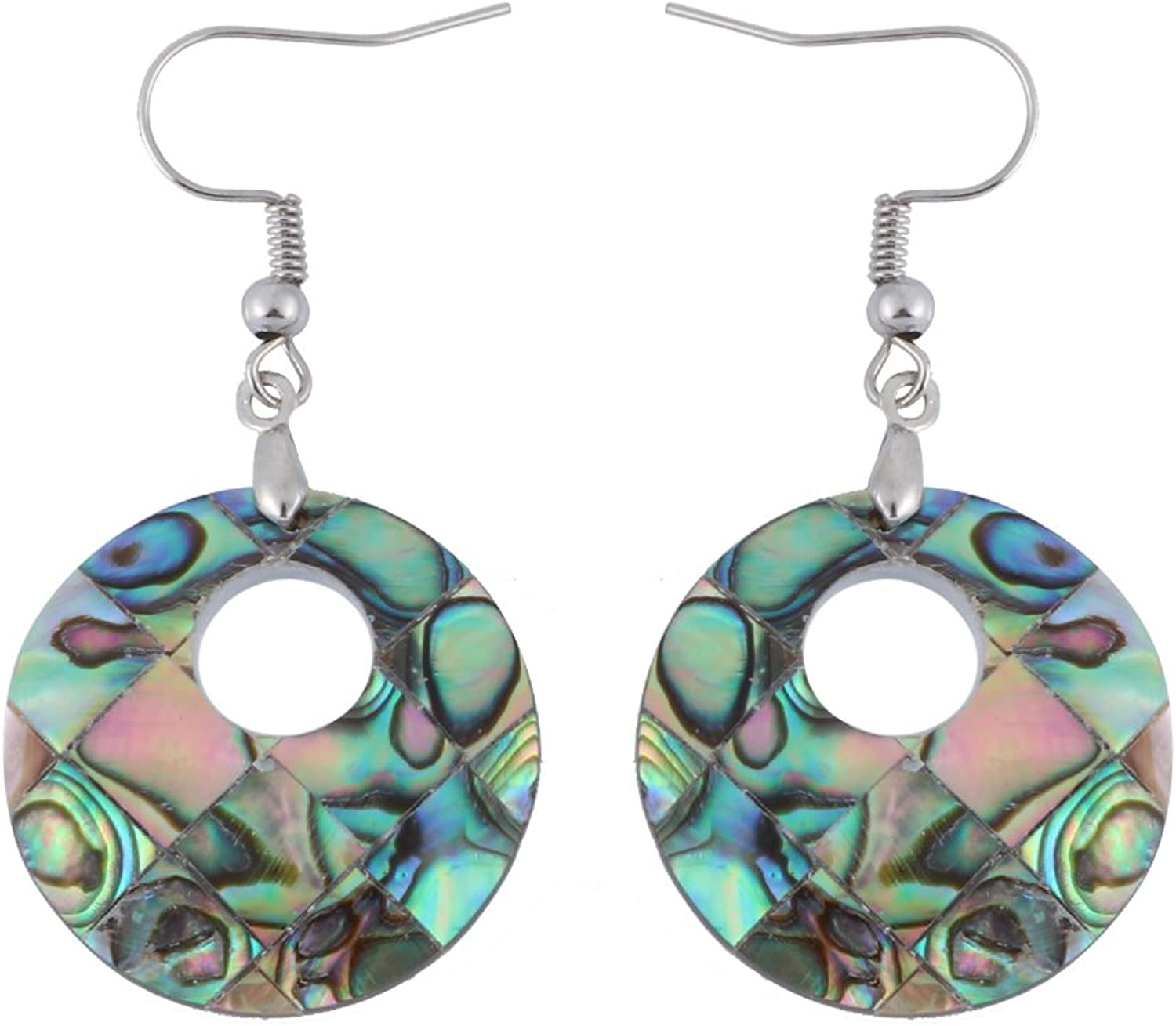 TUSHUO The Round Shape of the Abalone Shell Pendant Earrings Eardrop (Sliver)