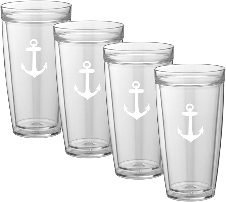 Kraftware Kasualware Collection Anchor Doublewall Drinkware 22 Ounce Set Of 4