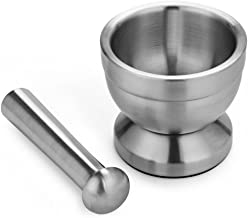 Funnytoday365 Practical Double Stainless Steel Mortar And Pestle Kitchen Garlic Herb Mills Grinder Pharmacy Bowel Kicthen Supply