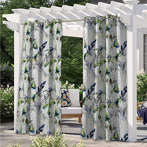 Outdoor Door Curtain Floral Pattern with Sweet Pea Blossoms in Watercolor Paint Effect Spring Theme Waterproof Indoor/Outdoor Curtains Tastefully Designed for An Outdoor Space White W120 x L96 Inch