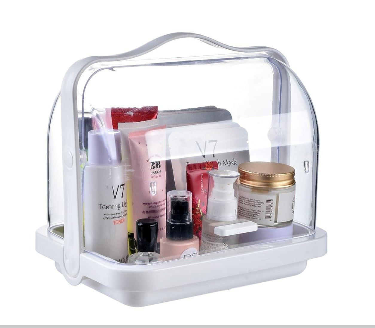 N&Zメイク収納ケース 化粧品収納ボックス スキンケア収納ケース 入浴用品ボックス カバー付き 防水防塵メイクボックス ポータブル 透明ABS 化粧品収納ボックス (S)