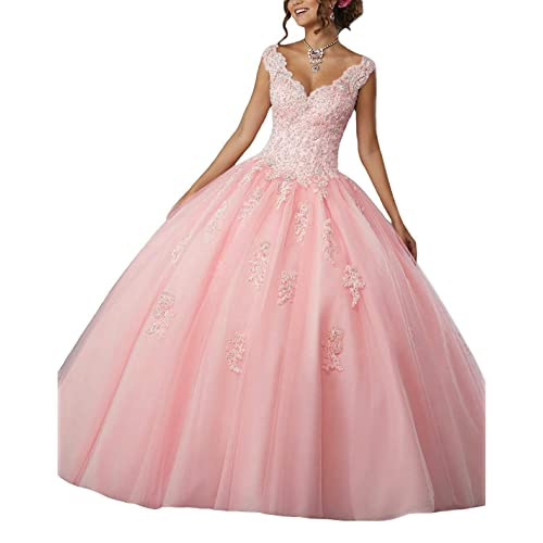 fba480ff4 Gemila Women's Lace Applique Beaded Sweet 16 Ball Gown Quinceanera Dress