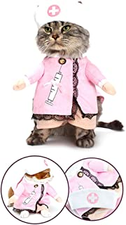 NACOCO Dog Cat Nurse Costume Pet Nurse Clothing Halloween Jeans Outfit Apparel
