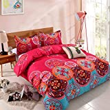 YMY Lightweight Microfiber Duvet Cover Set, Bohemian Exotic Floral Bedding Set (Bright Pink, Queen)