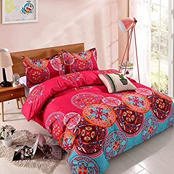 YMY Lightweight Microfiber Duvet Cover Set Bohemian Exotic Floral Bedding Set  Bright Pink Queen