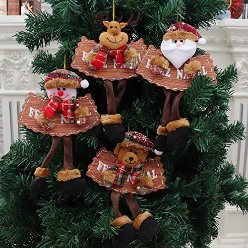 ZOYLINK 4 Stück Weihnachtshängende Verzierung Weihnachtsbaum Dekoration Sortierte Puppenverzierung