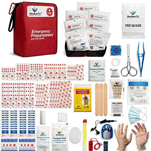 Emergency First Aid Kit: Add to Camping Gear, Home, Dorm, Survival Gear and Equipment, Hunting, Camping Accessories, Car Survival Kit, Travel Accessories, Tactical Gear. - 180 Pieces | by ResQue1st
