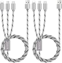 2Pack 5ft Multi Charging Cable, Bolatus 3 in 1 Charging Cable Multiple Device Phone Connector USB Universal Charger Cord Adapter Compatible with Cell Phone Tablets More [Upgraded](Silver, 5FT2Pack)