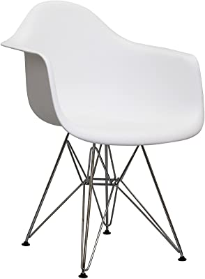 Modway Paris Mid-Century Modern Molded Plastic Dining Armchair with Steel Metal Base in White