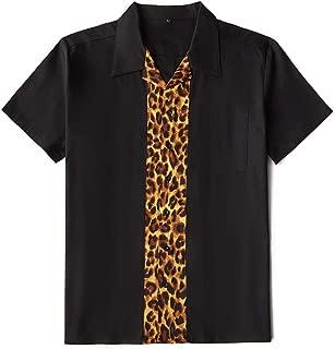 Amashz Men's Rockabilly Shirt Leopard Print Retro Style Twill Short Sleeve Bowling Shirt