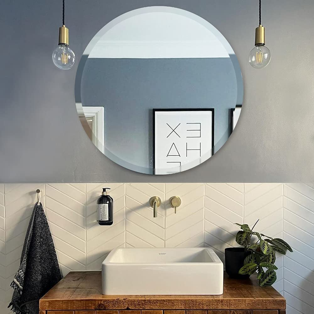 Buy Jenbely 28 Inch Round Frameless Wall Mirror Large Circle Vanity Mirror With Beveled Polished Edge For Bathroom Entryways Living Rooms Online In Indonesia B08ttbddrr