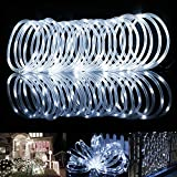 TR Turn Raise 12M 100 LED Solar Lichterkette, IP65 Wasserdicht Led Lichtschlauch Aussen, Außenlichter für Hochzeit, Party und Weihnachten, Dekoration (Kaltweiß)
