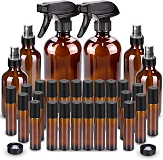 Glass Spray Bottle, Wedama 8 Glass Spray Bottle Set(16/4oz), 24 10 ml Essential Oil Roller Bottles Kits with& Accessories ...
