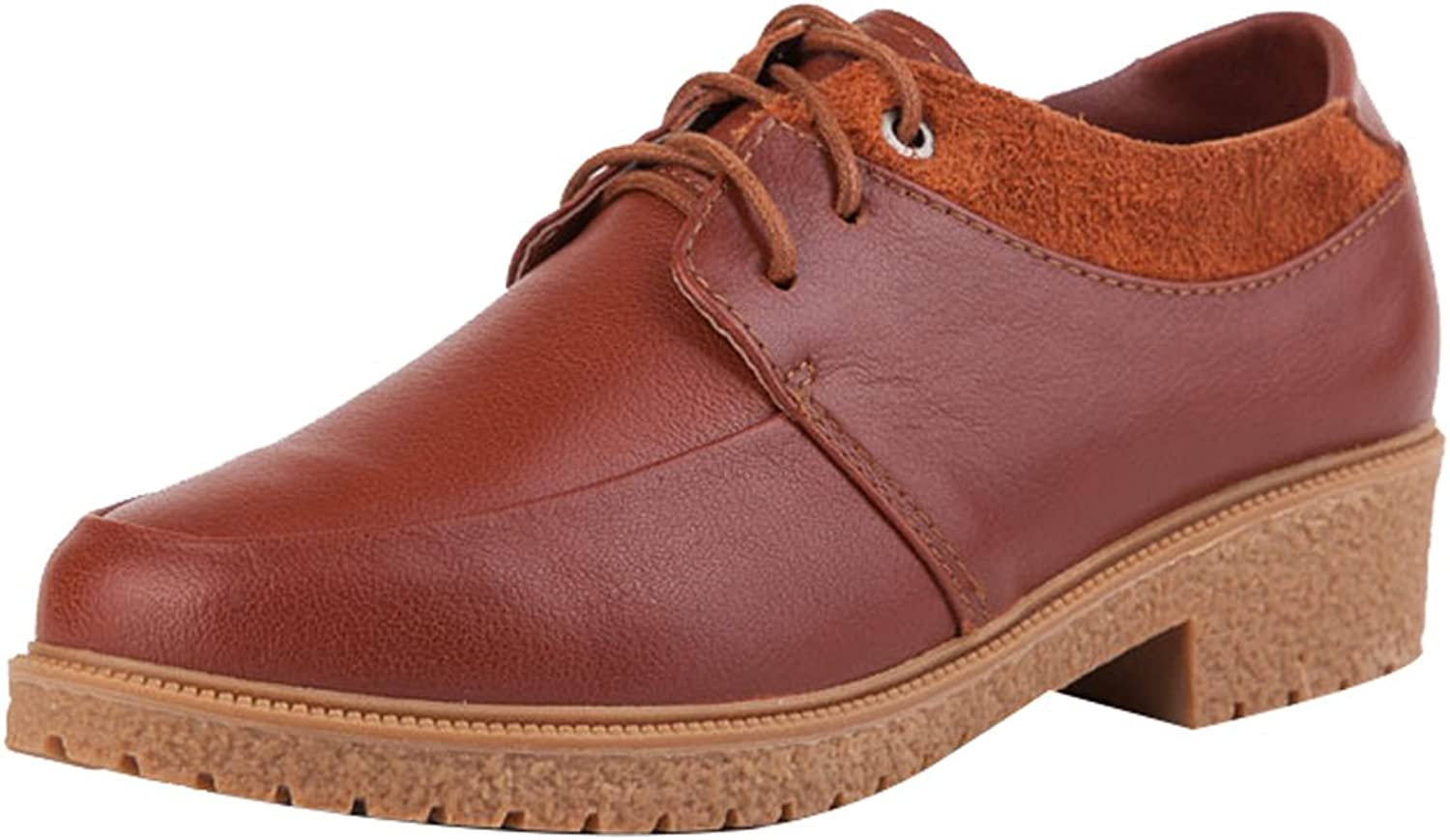 Zoulee Women's Leather Lace Up Oxfords shoes