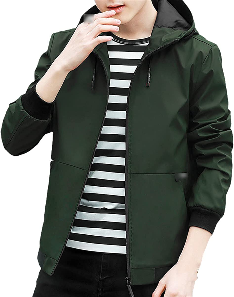 Young Fashion Jacket Men's Hooded Casual Jacket Spring And Autumn Men's Jacket Zipper Pocket Men's