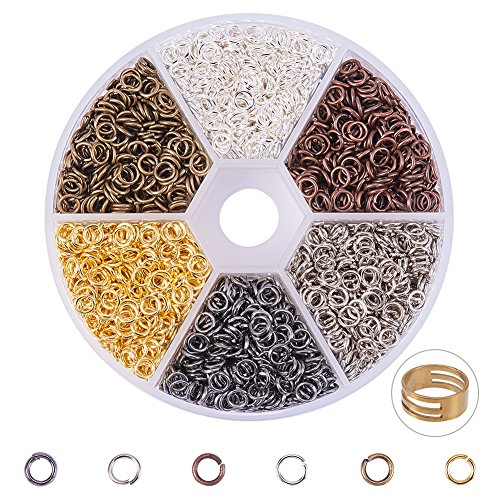 PandaHall Elite 1 Box 6 Colors 3300 Pcs Iron Plated Jump Rings Unsoldered 4mm Diameter Jewelry Making Findings by Pandahall
