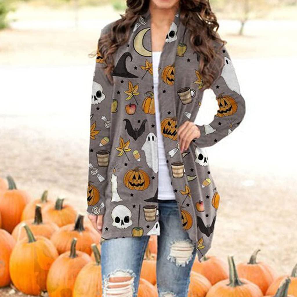 FABIURT Halloween Cardigan for Women,Womens Halloween Animal Cat Pumpkin Print Cardigan Autumn Coat Long Sleeve Jackets