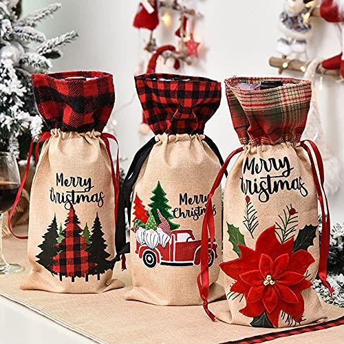 Prasacco Funda para botella de vino con asas, 3 bolsas de arpillera premium, bolsa de transporte para vino, bolsa de regalo para decoración del árbol de Navidad, cumpleaños, aniversario, boda