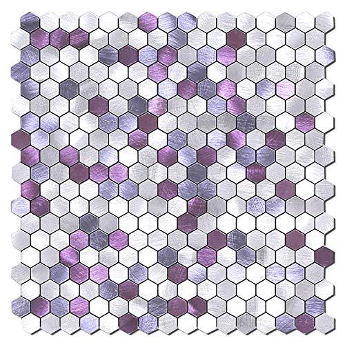 BeNice Hexágono Pegatinas De Azulejos De Metal Para Cocina, Autoadhesivas Mosaicos De Pared, Azulejos De BañO, Pelar Y Pegar, 26,5x26,5cm, 5piezas Lila
