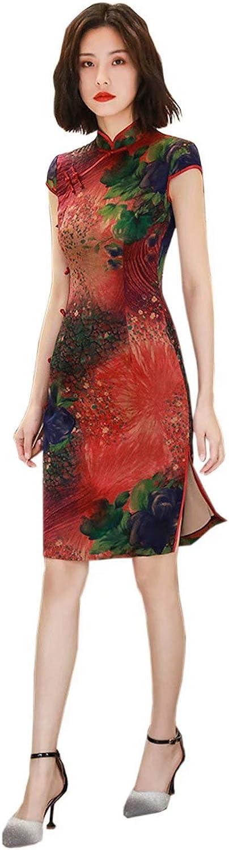 HangErFeng Qipao Dresses Silk Printed Slim Fashion Red Cheongsams Daily Party