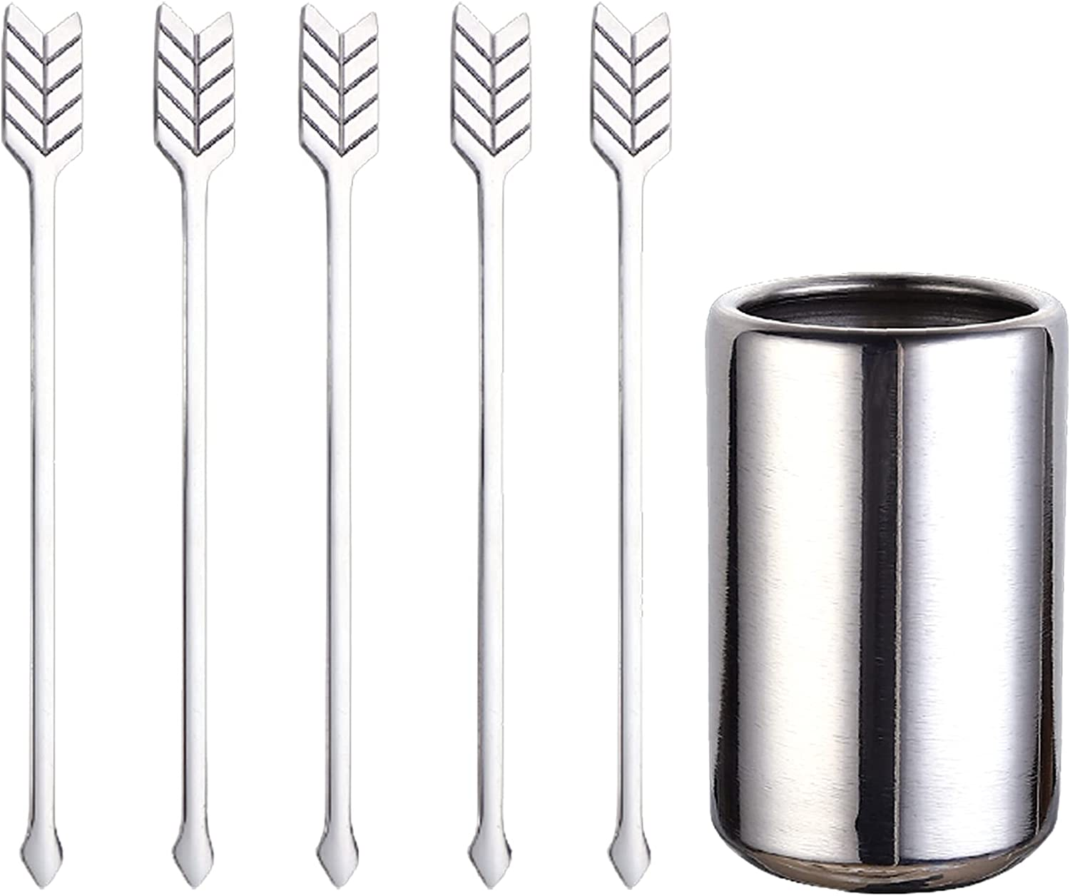 5 Pcs Stainless Steel Coffee Beverage Stirrers-Stir Cocktail Drink Swizzle Stick with Stirrers Holder, Silver
