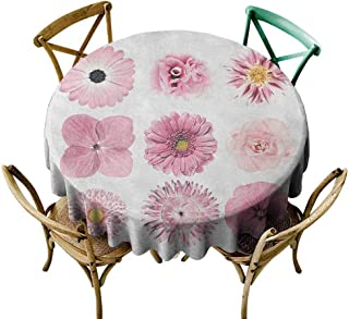 StarsART Restaurant Table Cover Pink and White,Botanical Daisy Chrystanthemum Cornflower Dahlia Iberis Primrose Gerbera Set, Dried Rose D60,Tablecloths for Sale