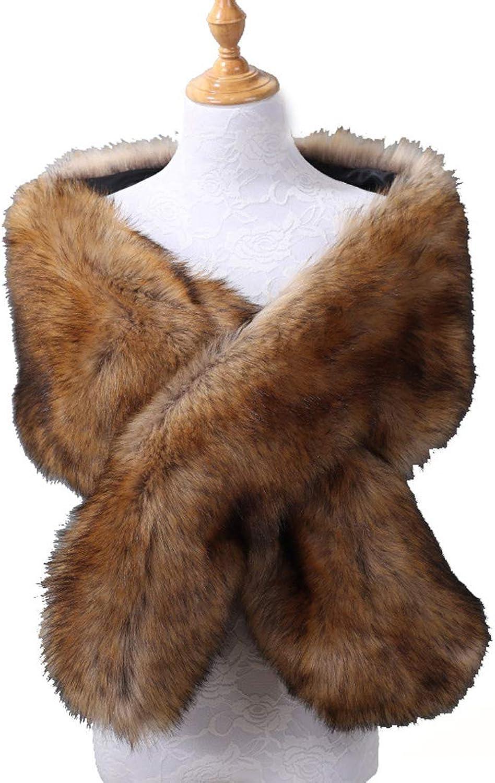 ThinIce Women's Faux Fur Shawl Wraps Stole Cloak Coat Sweater Cape for Evening Party Bridal Wedding