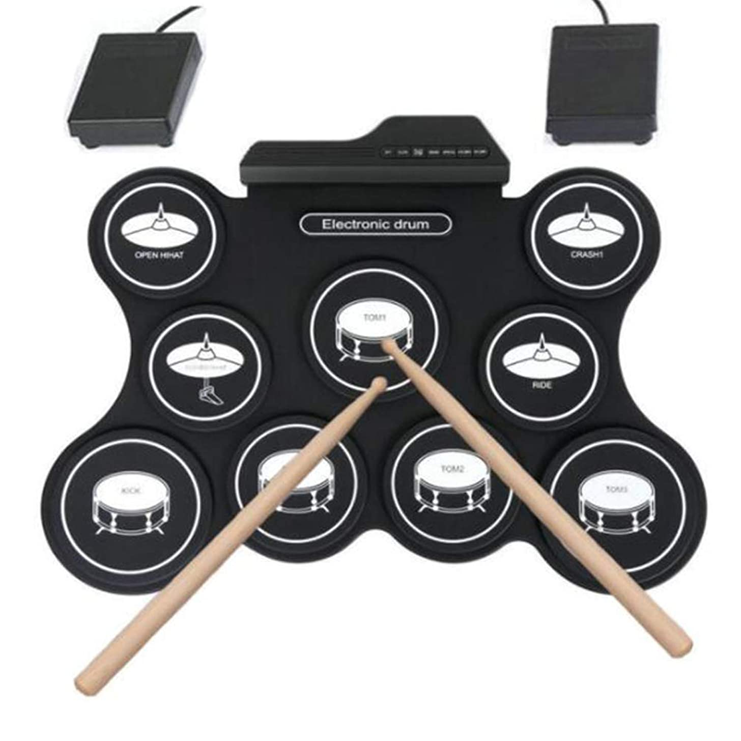 PJDDP Electric Drum Drum,Portable Roll Up Electronic Digital Drum Kit with MP3 Input,Built-in 5 Drum Set Tones and 8 Demo Songs,Without Speaker for Kids Or Beginner