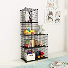 JOISCOPE Bookshelf with Multi-function Space-saving 6 Cubes Black Metal Organizer Wire Shelves Cubes Storage Portable Stor...